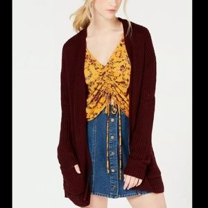 Hooked Up Red Long Open Front Knit Cardigan XL
